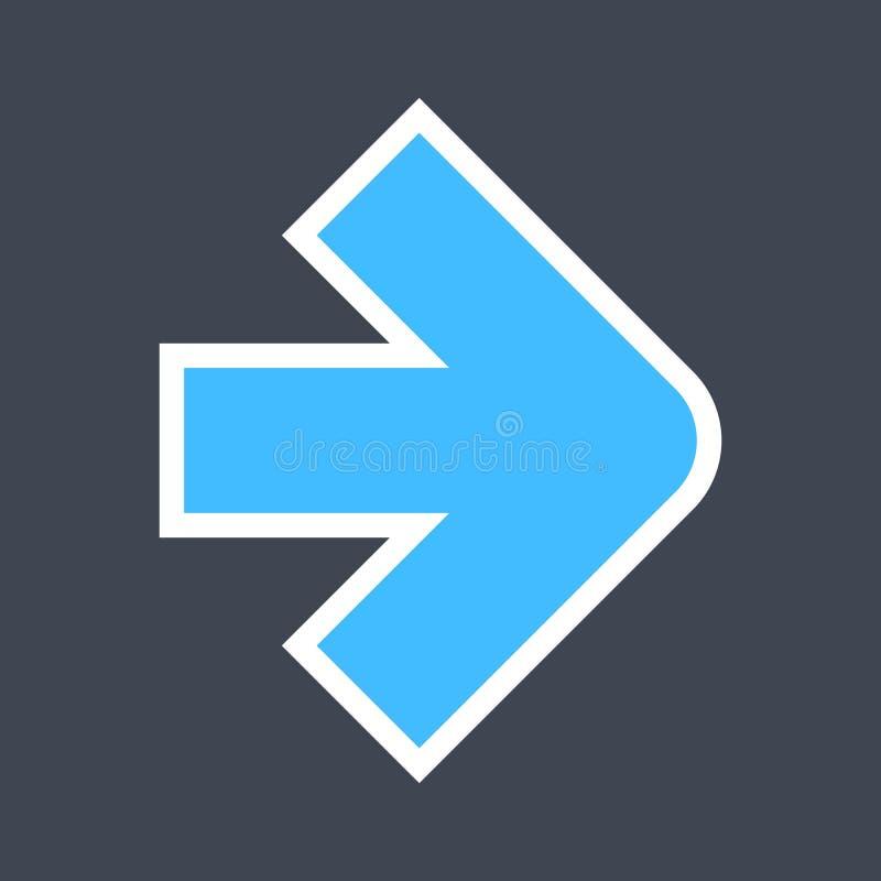 Signe de flèche créé comme icône d'autocollant avec un contour blanc Symbole bleu de navigation conçu dans le style plat photographie stock
