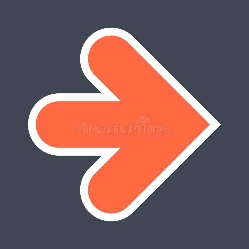 Signe de flèche créé comme icône d'autocollant avec un contour blanc Symbole rouge de navigation conçu dans le style plat photo libre de droits