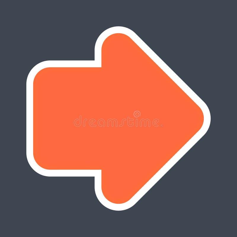 Signe de flèche créé comme icône d'autocollant avec un contour blanc Symbole rouge de navigation conçu dans le style plat images stock