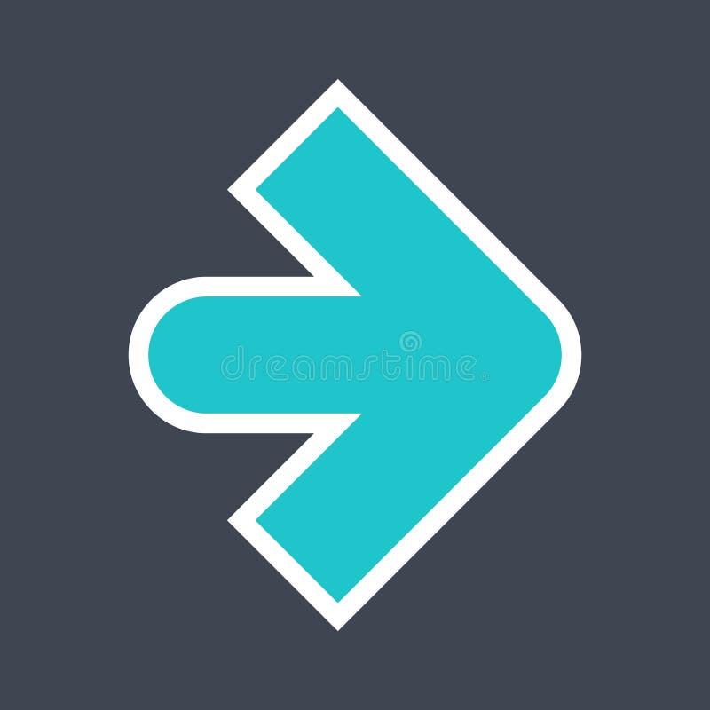 Signe de flèche créé comme icône d'autocollant avec un contour blanc Symbole vert de navigation conçu dans le style plat photos stock