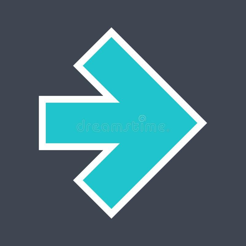 Signe de flèche créé comme icône d'autocollant avec un contour blanc Symbole vert de navigation conçu dans le style plat photographie stock libre de droits