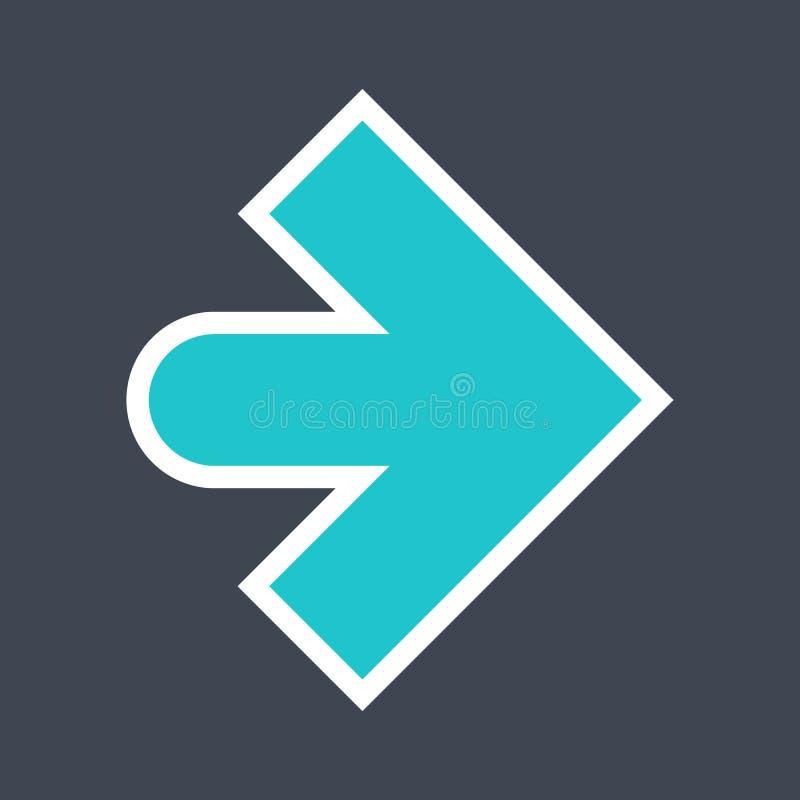 Signe de flèche créé comme icône d'autocollant avec un contour blanc Symbole vert de navigation conçu dans le style plat image stock