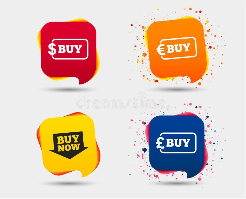 Signe de flèche d'acheter maintenant Icônes en ligne d'achats illustration de vecteur