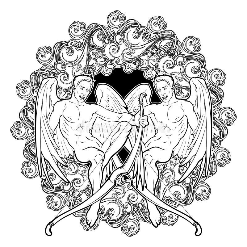 Signe de Gemini Zodiac avec un cadre décoratif des nuages Élément d'alchimie - air Beaux jumeaux masculins illustration libre de droits