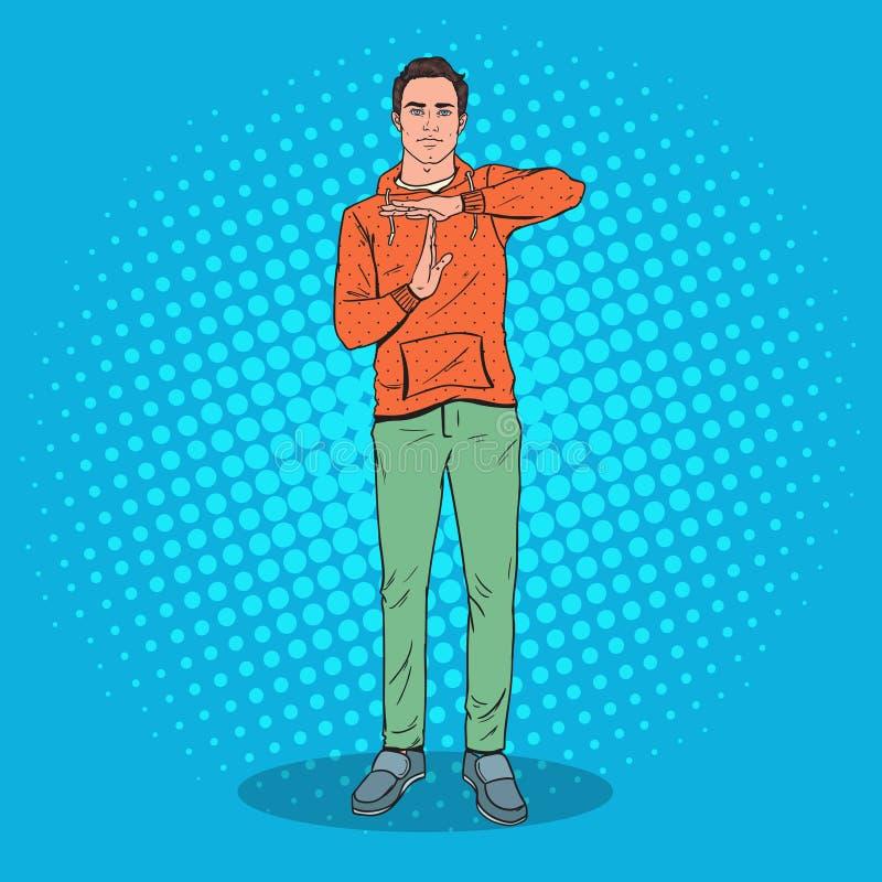 Signe de geste de main d'Art Man Showing Time Out de bruit illustration stock
