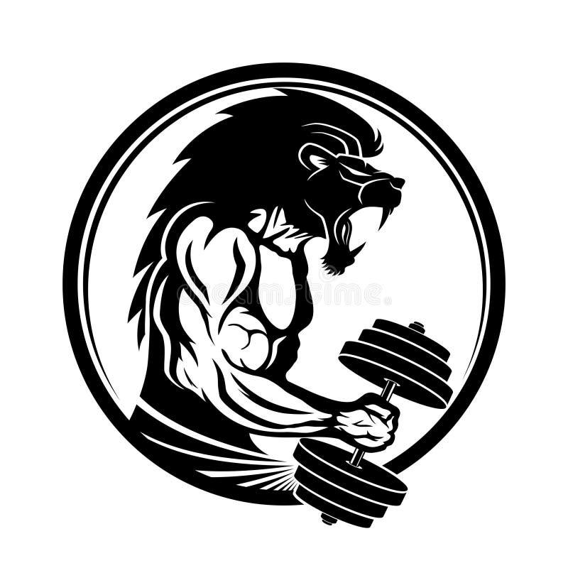 Signe de gymnase avec un homme musculaire illustration de vecteur