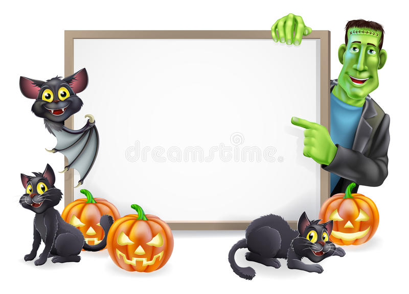 Signe de Halloween avec la batte et le Frankenstein illustration de vecteur