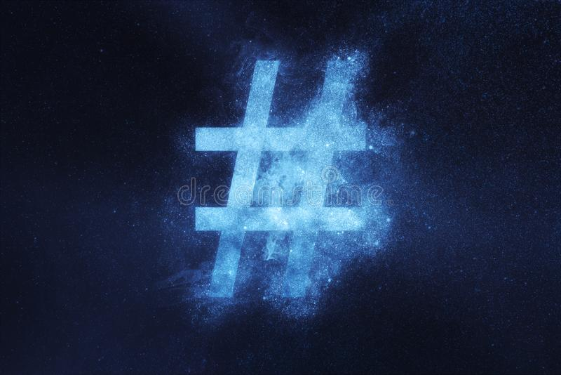 Signe de Hashtag, symbole de Hashtag Fond abstrait de ciel nocturne photos stock