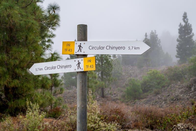 Signe de hausse circulaire de chemin de Chinyero photo libre de droits