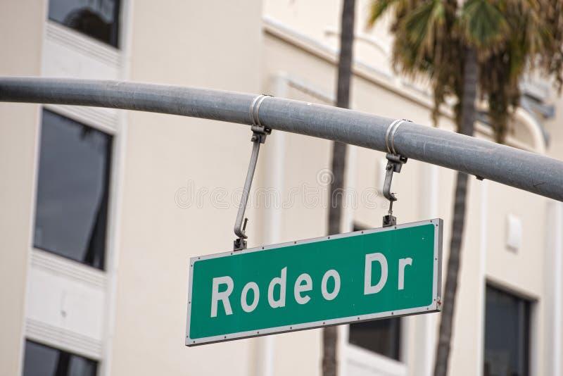 Signe de Hollywood Rodeo Drive de LA photo stock