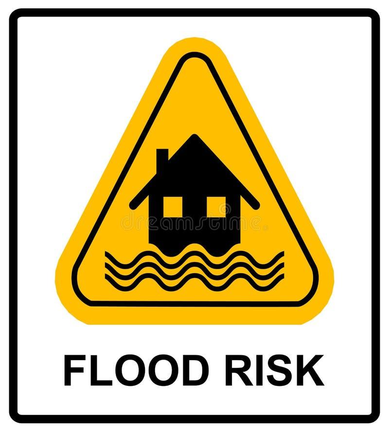 Signe de jaune de catastrophe d'inondation - logez et des vagues sur le signe jaune d'isolement sur le fond blanc illustration de vecteur