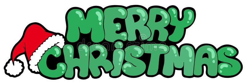 Signe de Joyeux Noël avec le chapeau illustration stock