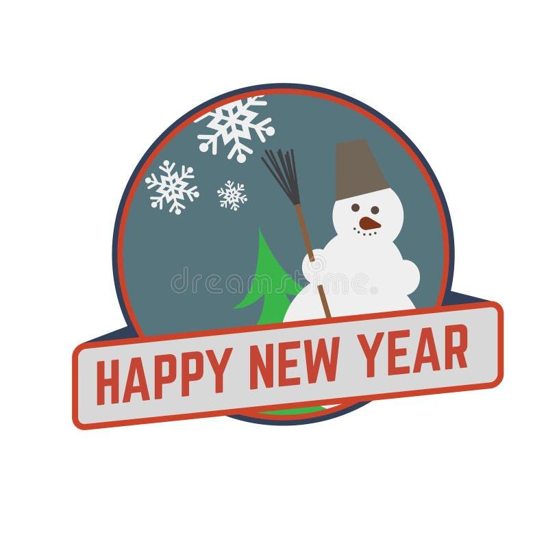 Signe de Joyeux Noël et de bonne année de bande dessinée Bonhomme de neige gai Illustration de vecteur illustration stock