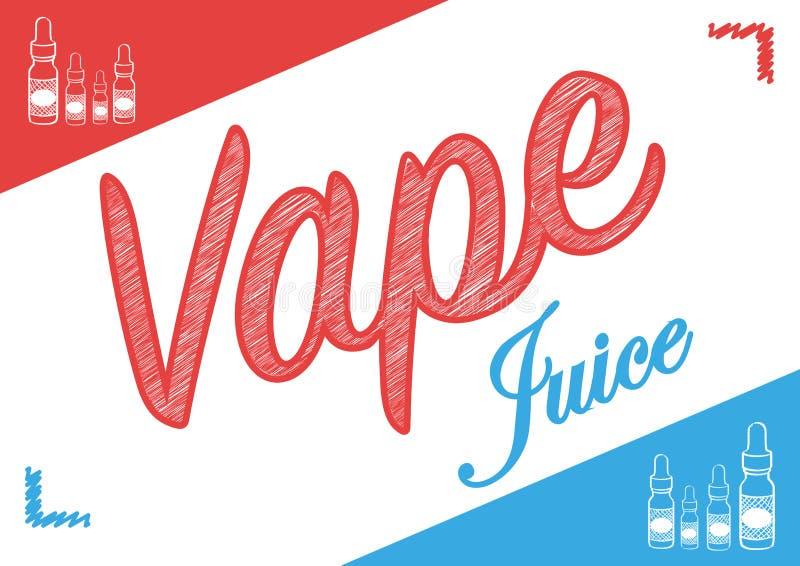Signe de jus de vape de Vaping avec l'illustration des bouteilles de vapeur illustration libre de droits