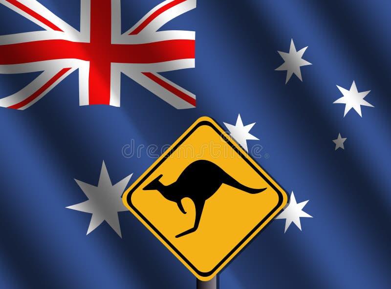 Signe de kangourou avec l'indicateur australien illustration stock