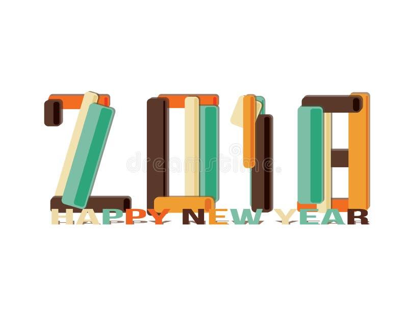 Signe de la bonne année 2018 illustration de vecteur