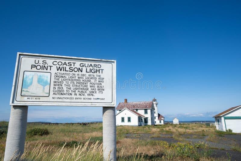 Signe de la garde côtière des USA pour le point Wilson Lighthouse image libre de droits