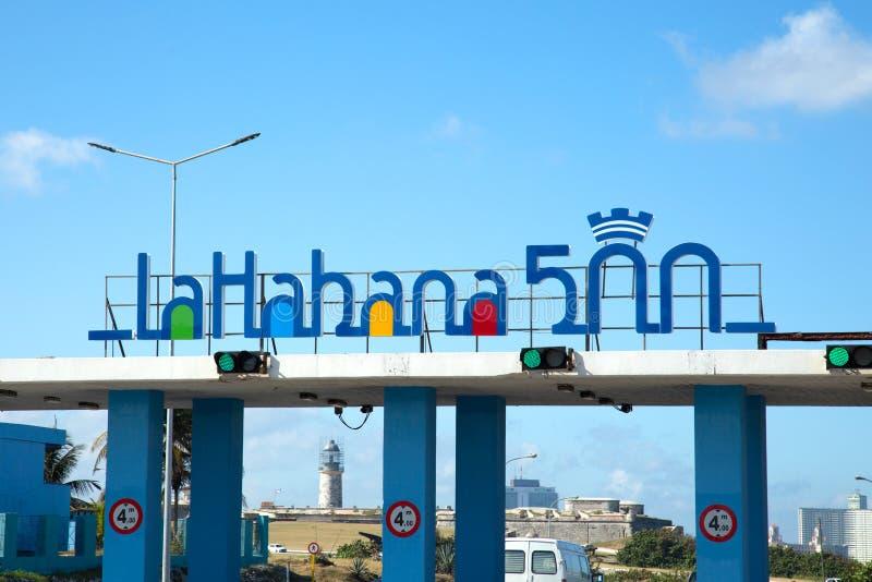 Signe de La Havane pour son 500th anniversaire de base image stock