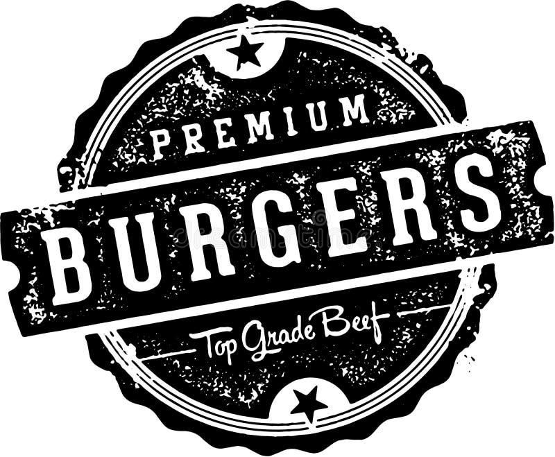 Signe de la meilleure qualité de restaurant de vintage d'hamburgers illustration libre de droits