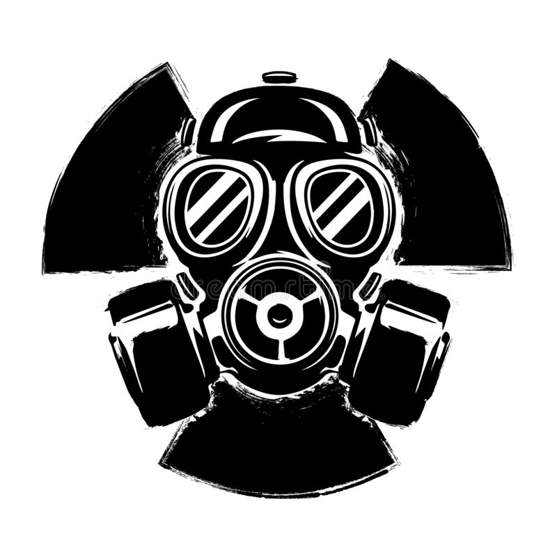 Signe de la radioactivité avec le masque de gaz : le concept de la pollution et du danger Illustration grunge de vecteur de masqu illustration libre de droits