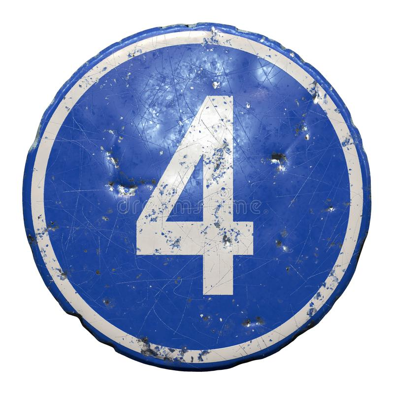 Signe de la route publique en couleur bleue avec une lettre blanche majuscule 4 au centre arrière-plan blanc isolé 3D image libre de droits