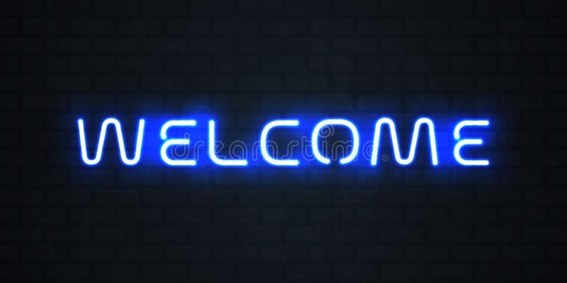 Signe de lampe au néon d'accueil Dirigez le signage bienvenu au néon bleu rougeoyant illustration stock