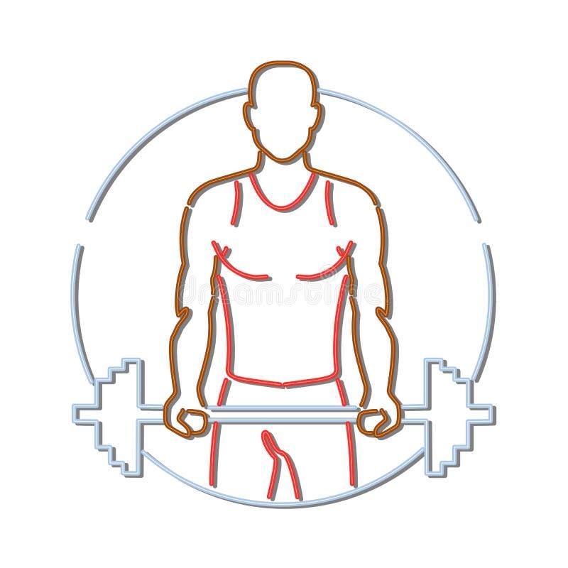 Signe de Lifting Barbell Neon d'athlète d'afro-américain illustration libre de droits