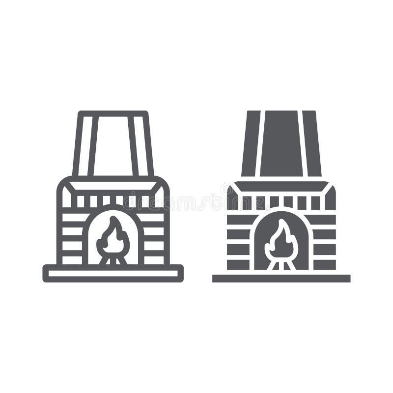 Signe de ligne de cheminée et d'icône de glyph, intérieur et à la maison, de combustion de cheminée, graphiques de vecteur, un mo illustration stock