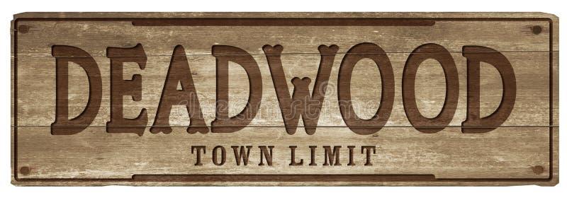 Signe de limite de ville du Dakota du Sud de bois mort photos libres de droits