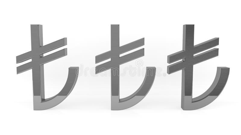 Signe de Lire turque Fer de symbole de TL Symbole turc d'argent illustration stock