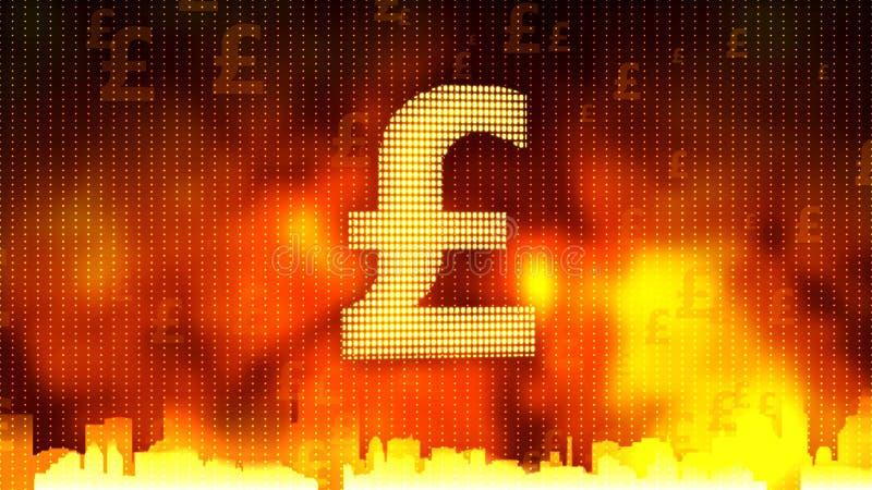 Signe de livre britannique sur le fond ardent, devise stable, marché financier illustration de vecteur
