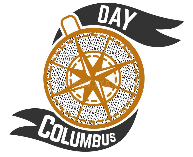Signe de logo de Columbus Day avec le symbole de boussole illustration stock
