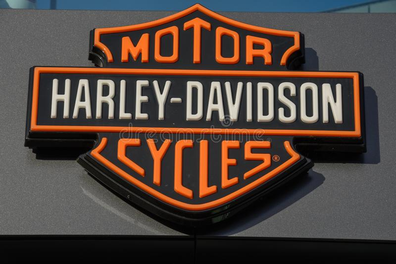 Signe de logo de marchand de vélo de Harley-Davidson à Lugano photos libres de droits