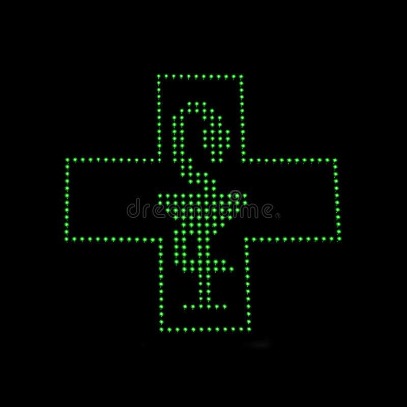 Signe de lumière de pharmacie image stock