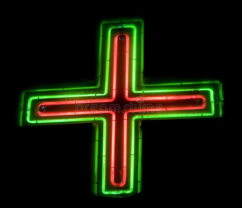 Signe de mémoire de pharmacie de Croix-Rouge photos stock