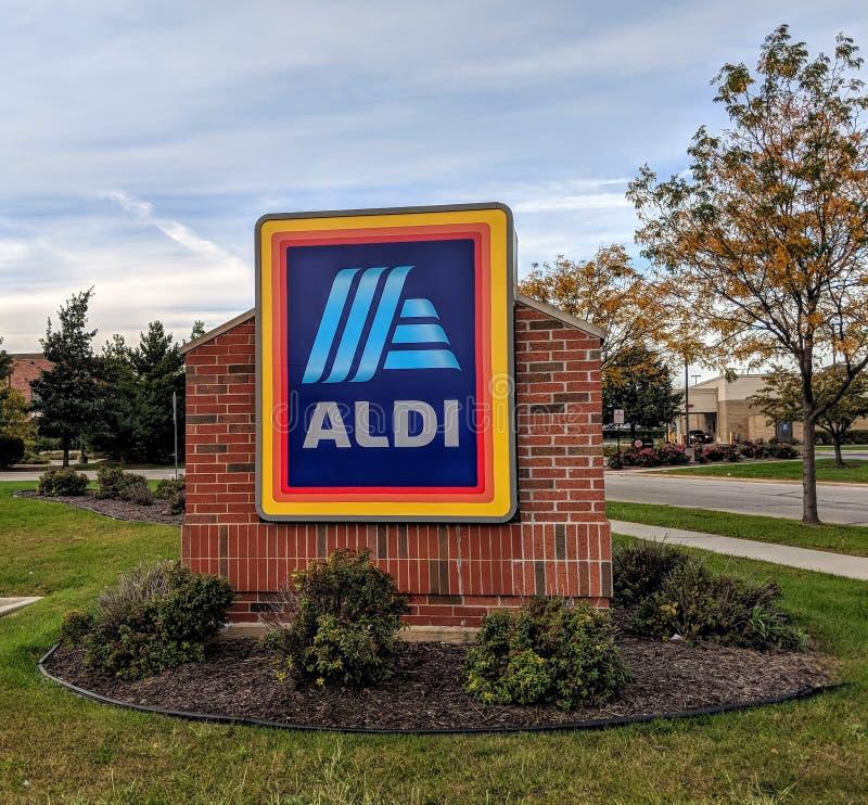 Signe de magasin d'Aldi photos stock