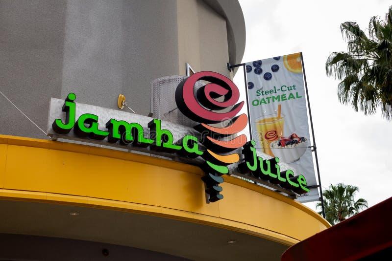 Signe de magasin de jus de Jamba photographie stock libre de droits
