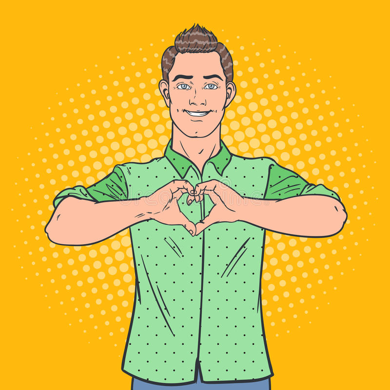 Signe de main d'Art Happy Man Showing Heart de bruit Fond comique de style de geste d'amour illustration libre de droits