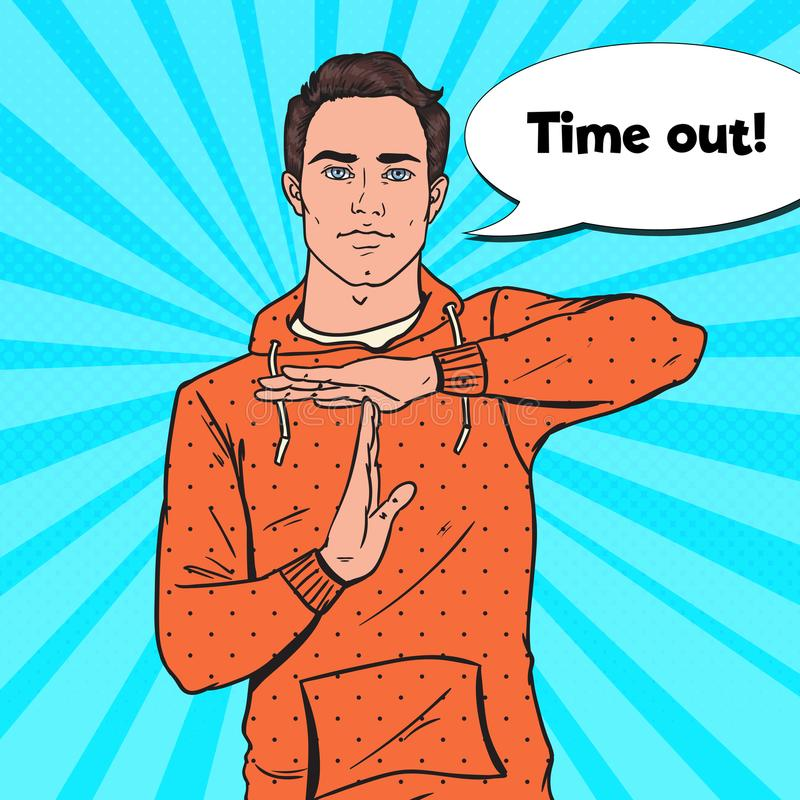 Signe de main d'Art Man Gesturing Time Out de bruit illustration de vecteur
