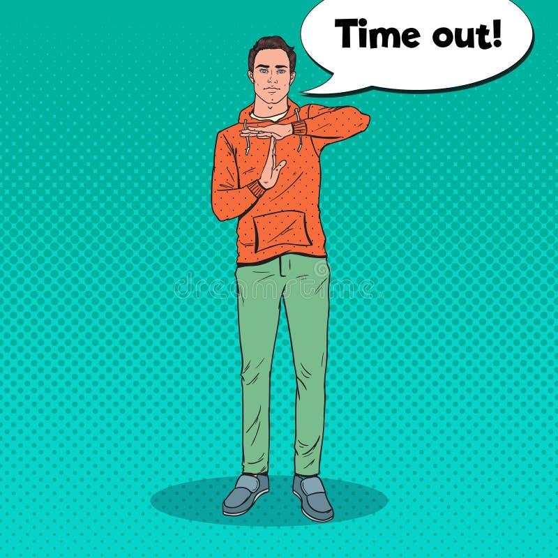 Signe de main d'Art Man Gesturing Time Out de bruit illustration stock
