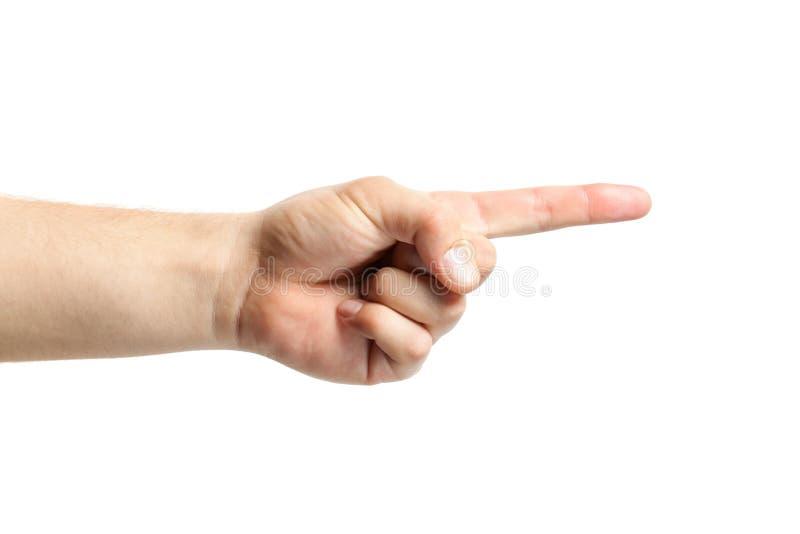 Signe de main d'homme d'isolement sur le fond blanc points de doigt au image stock