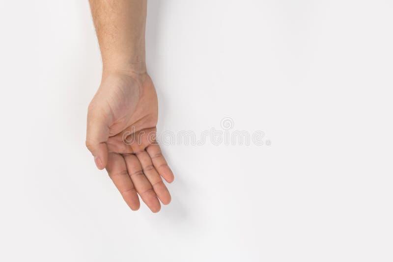 Signe de main d'homme d'isolement sur le fond blanc images libres de droits