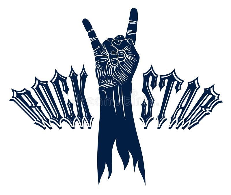 Signe de main de roche, geste chaud de rock de musique, concert de festival de hard rock ou club, emblème de label de vecteur ou  illustration stock