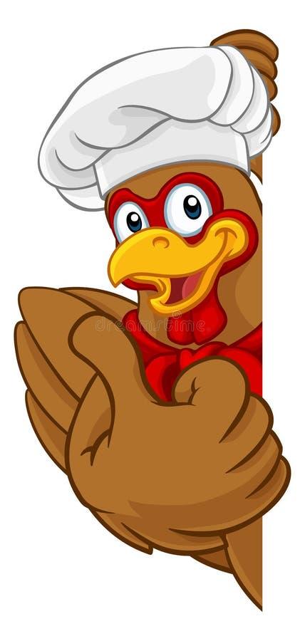 Signe de mascotte de Cartoon Rooster Cockerel de chef de poulet illustration libre de droits