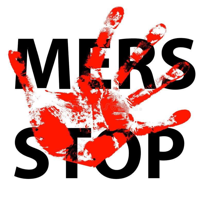 Signe de Mers Corona Virus d'arrêt d'impression de main illustration de vecteur