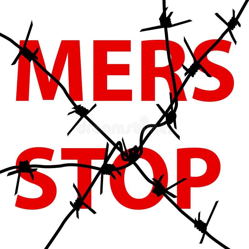 Signe de Mers Corona Virus d'arrêt de barbelé de fond Illu de vecteur illustration libre de droits