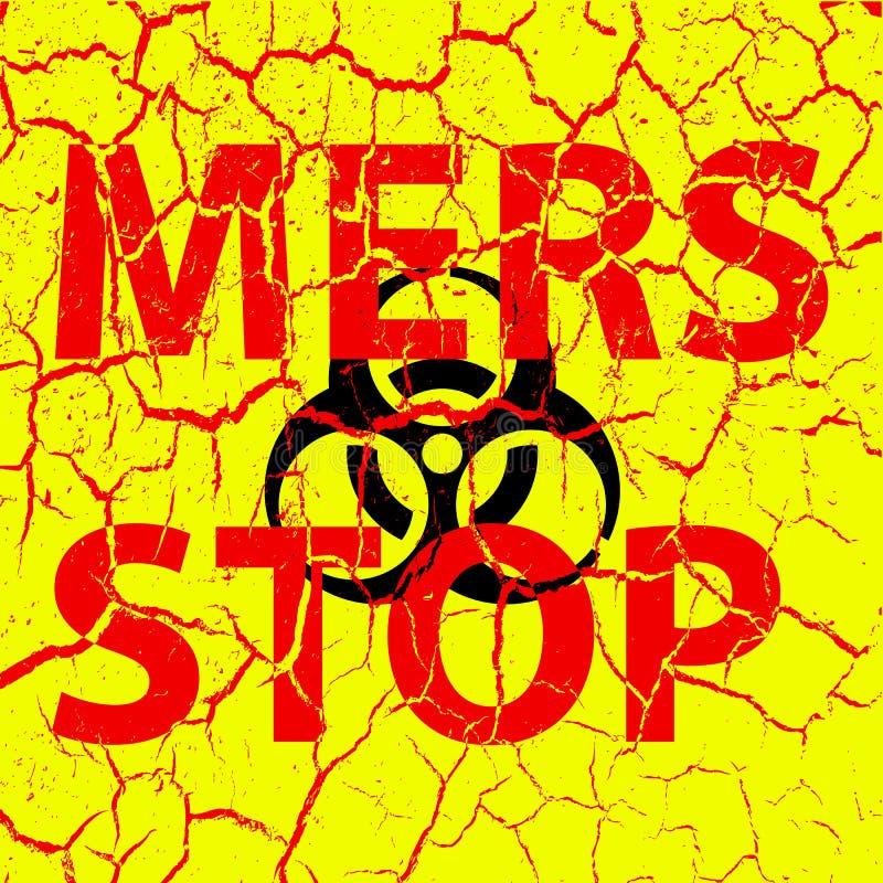 Signe de Mers Corona Virus d'arrêt de fissures de fond Illustrat de vecteur illustration libre de droits