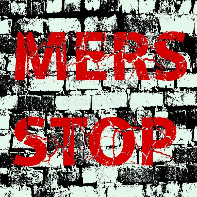 Signe de Mers Corona Virus d'arrêt de mur de briques de fond Illus de vecteur illustration stock