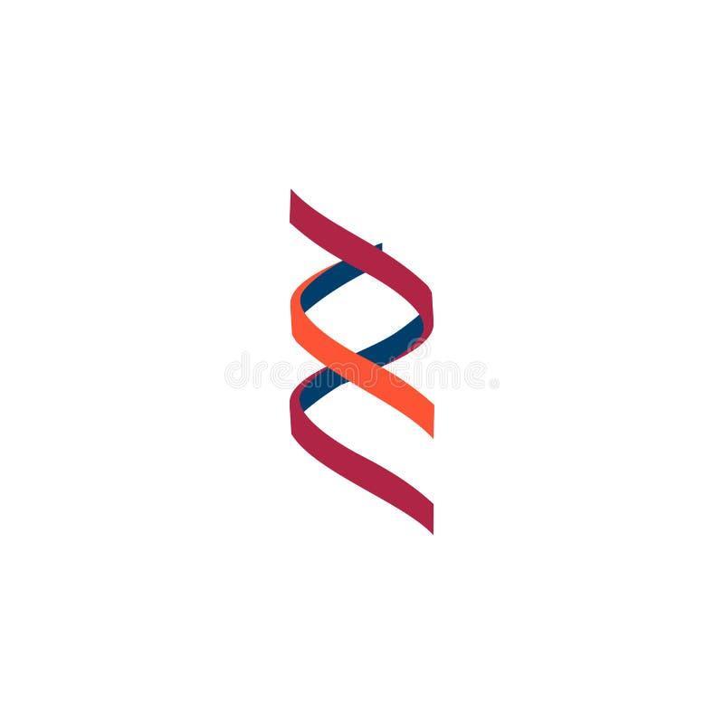 Signe de molécule d'ADN, éléments génétiques et brin de collection d'icônes Vecteur illustration libre de droits