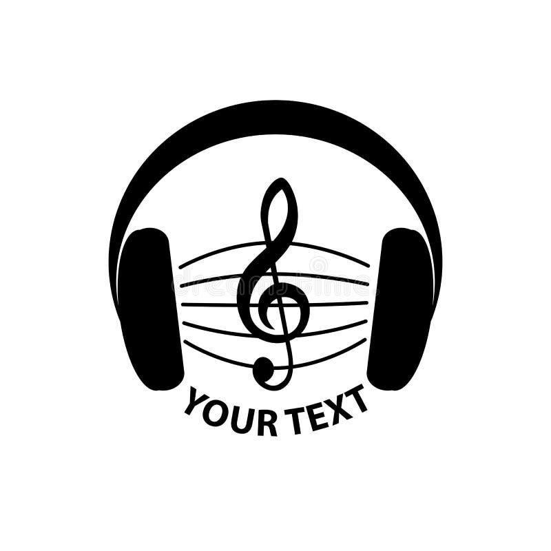Signe de musique logotype sain logo avec la clef triple illustration de vecteur